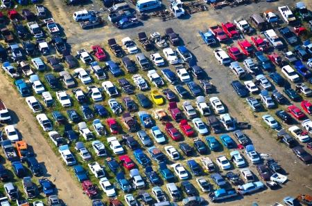 salvage yard: aerial view of auto salvage yard
