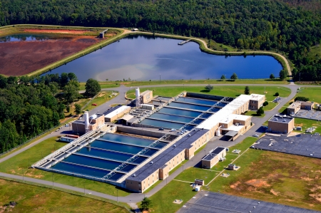 waterworks: aerial view of water treatment plant