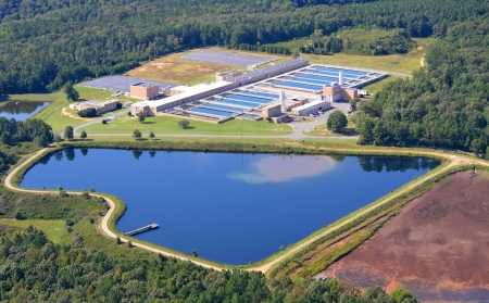 treatment: aerial view of water treatment plant