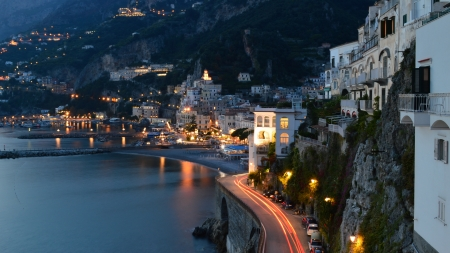 twilight on the Amalfi Coast of Italy Banco de Imagens