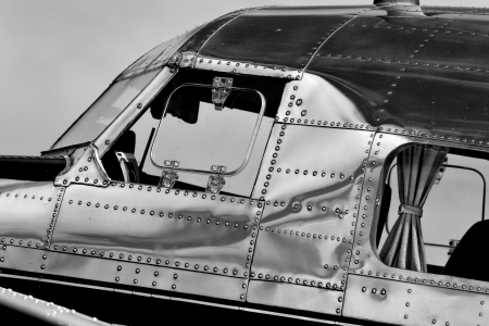 vintage airplane in black and white