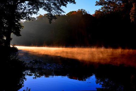 Ochtend mist op het water
