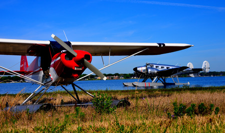 seaplanes at dock Editorial