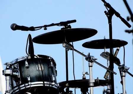 Drums and mics on stage Stock Photo