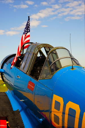 transportaion: vintage military aircraft with flag
