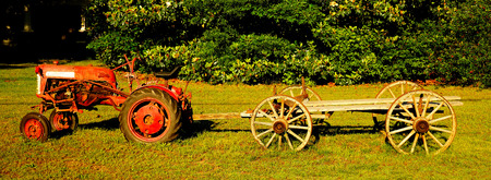 vintage tractor and wagon