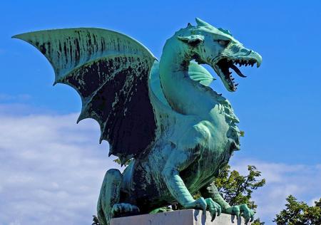 dragon on public bridge in Slovenia Imagens