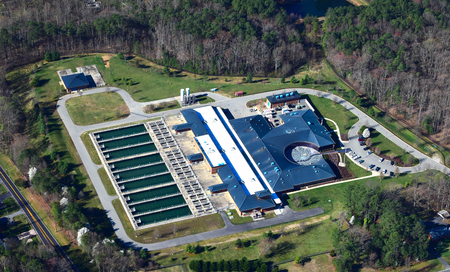 water treatment plant: aerial view of water treatment plant
