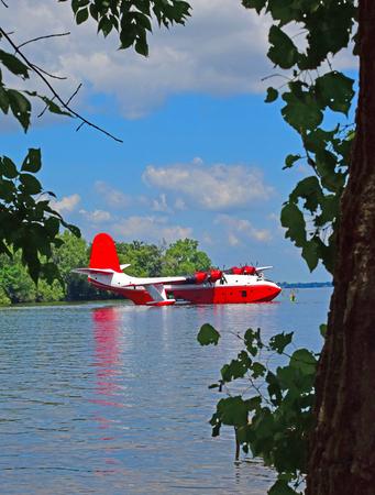 vintage flying boat on lake Banco de Imagens