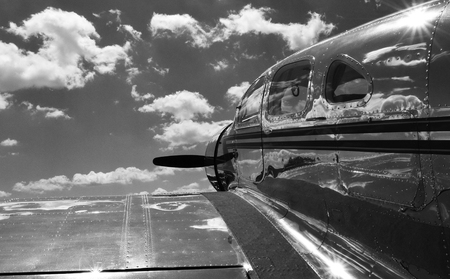 vintage aircraft in black and white Banco de Imagens