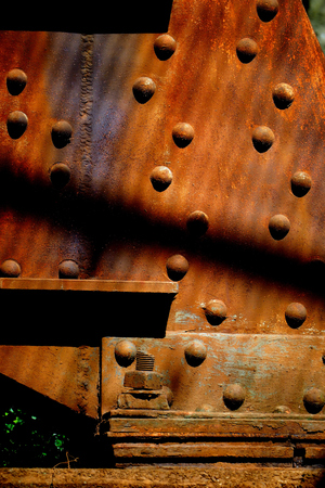 close up of rusted steel beam