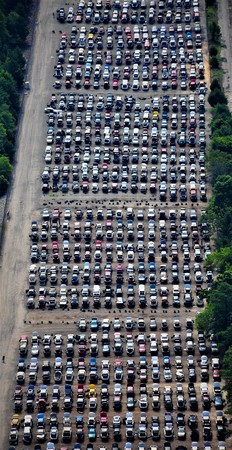 salvage yard: Aerial view of auto salvage yard Stock Photo