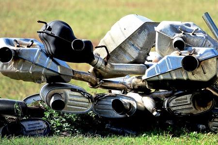 scraped automotive exhaust parts