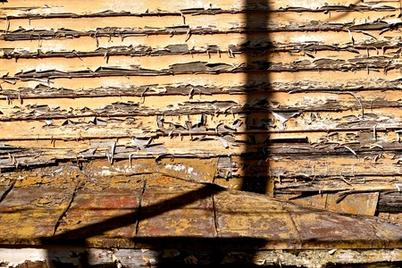 old paint and shadows on abandoned building Stok Fotoğraf