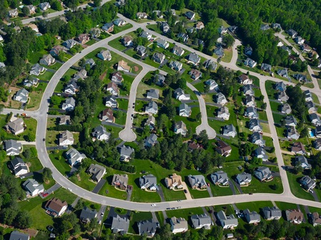 aerial photo of an urban subdivision Stock Photo