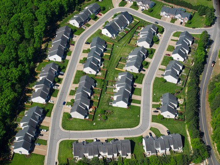 Aerial photography of a urban subdivision