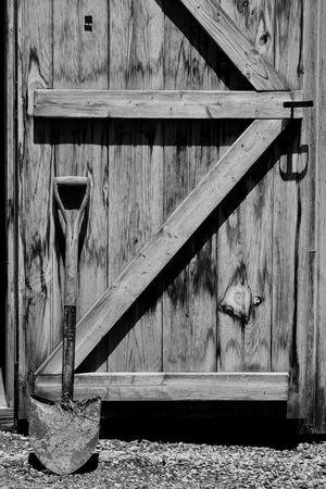 barn door and shovel