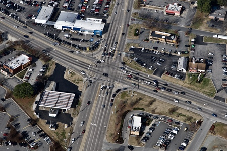 aerial view of a busy intersection Stockfoto