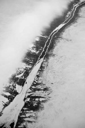 aerial view of frozen river over Newfoundland