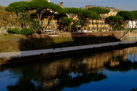 view along the Tiber River in Rome, Italy
