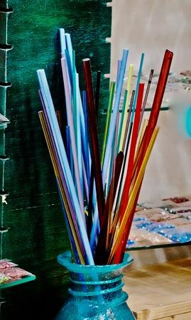 colorful glass rods Banco de Imagens