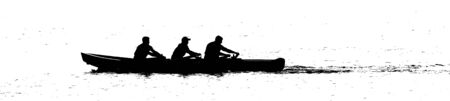three people rowing boat