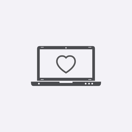 laptop screen: Laptop with heart on screen. Vector icon. Illustration