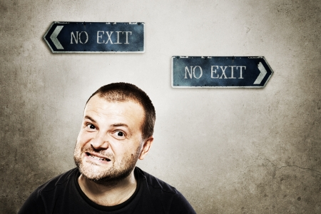 Angry man with no exit Stock Photo