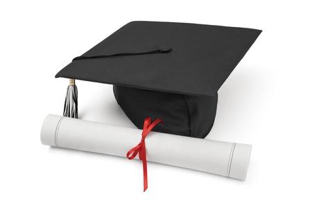 graduation hat: Graduation hat and Diploma Stock Photo