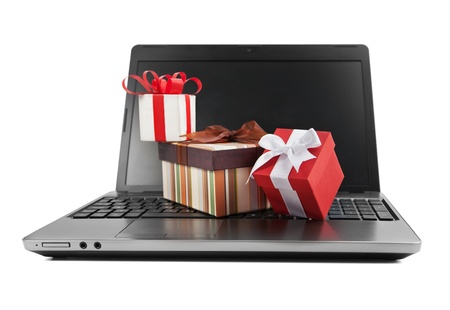 Laptop and gifts Stock Photo - 17651044