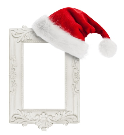 Santa Claus hat hung on the vintage frame photo