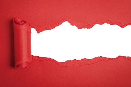 Torn red paper Stock Photo