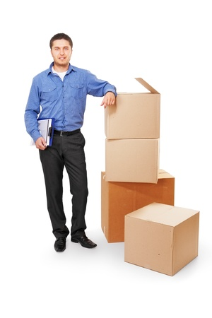 Businessman with Cardboard Boxes photo