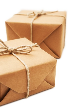 ship parcel: Parcel wrapped with brown paper tied with rope