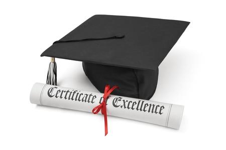 academic achievement: Graduation hat and Diploma Stock Photo