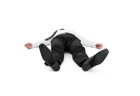 lying down on floor: Businessman lay on the ground Stock Photo
