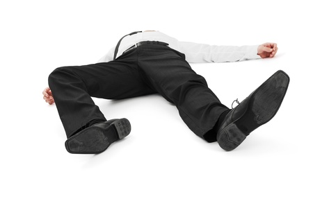 Businessman lay on the ground Stock Photo