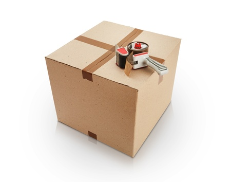 packing tape: Cardboard box and packing tape