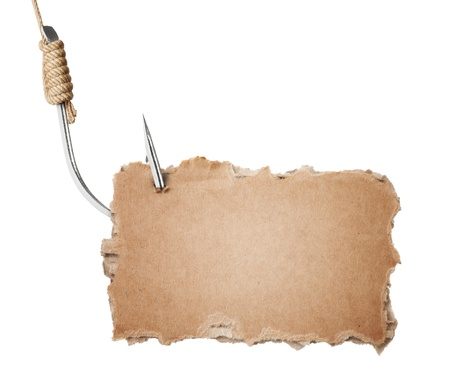 torn cardboard: Blank torn cardboard on fishing hook