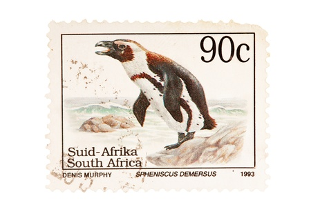 African postage stamp with penguin photo
