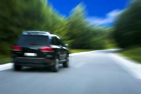 motor cars: Car on the forest road