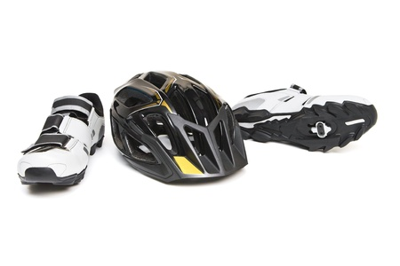 Bicycle Accessories - Helmet and sneakers Stock Photo