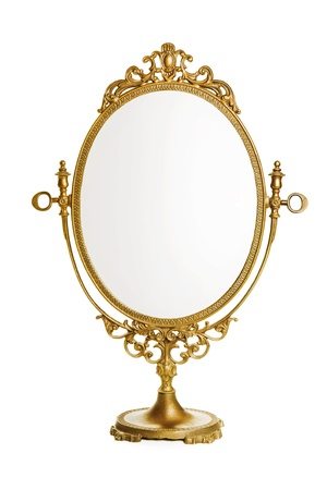Golden antique mirror photo