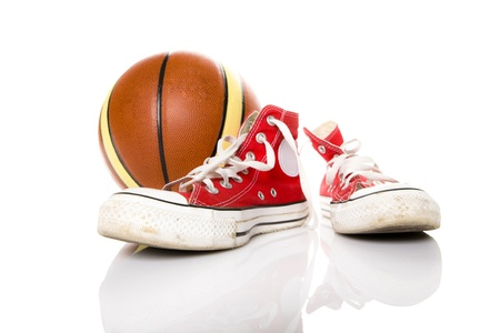 Sneakers and basket ball photo