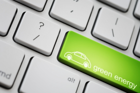 eco car: Green car button for ecology concept