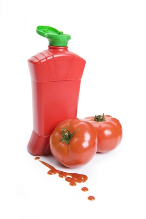 squirting ketchup: Ketchup bottle and tomato