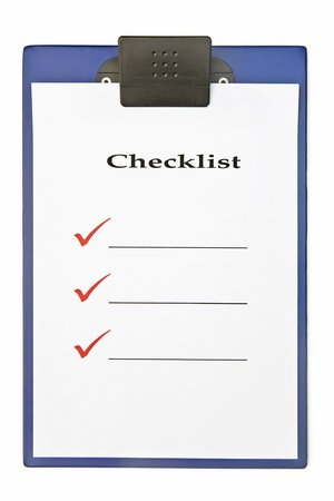 Blank checklist on clipboard, with large red ticks, and room for text photo