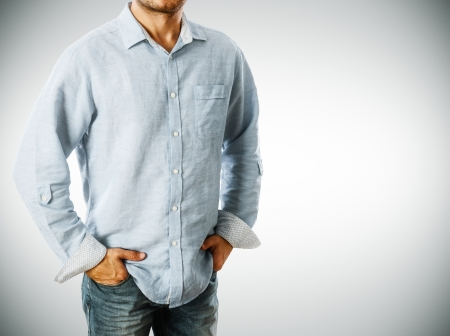 Man wearing casual shirt photo