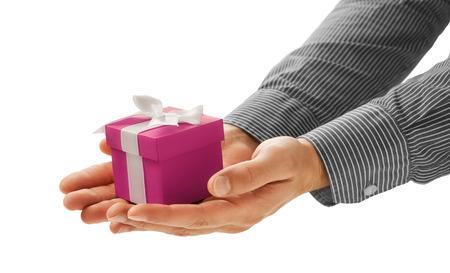 gratitude: Man gives a gift Stock Photo