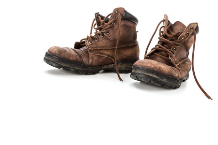 zapatos de seguridad: Zapatos de cuero viejos